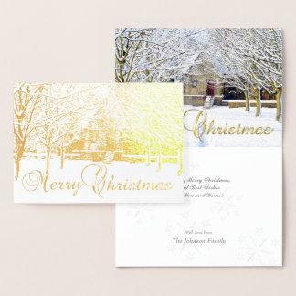 Gold Foil Merry Christmas Winter Scene & Greeting Foil Card