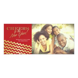 Gold Foil Metallic Zigzag Stripes New Years Card 10 Cm X 24 Cm Invitation Card