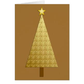 Gold foil modern Christmas tree Greeting Card