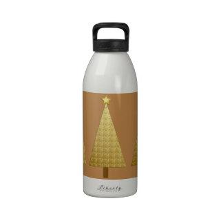 Gold foil modern Christmas tree Water Bottle