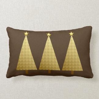 Gold foil modern Christmas trees Lumbar Pillow