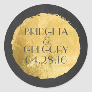 Gold Foil Modern Wedding Round Sticker