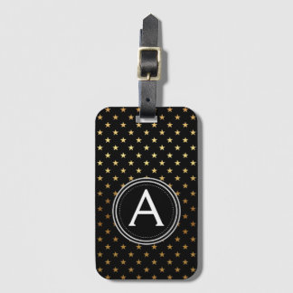 Gold Foil Monogram and Stars Luggage Bag Tag