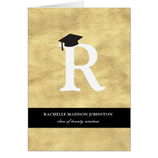 Gold Foil Monogram Graduation Announcement Card