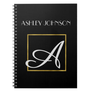 Gold Foil Monogram Notebook for School or Work