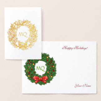 Gold Foil Monogram & Pine Wreath Foil Card