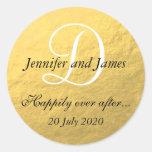 Gold Foil Monogram Stickers for Wedding Favors