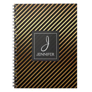 Gold Foil Monogram Stiped Notebook