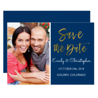 Gold Foil & Navy Blue Save the Date Photo Card