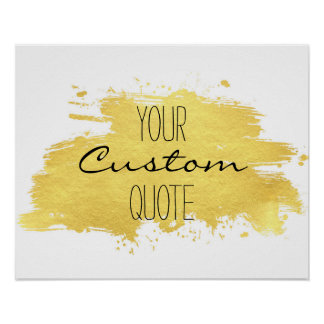 Gold foil paint stroke Personalised quote print