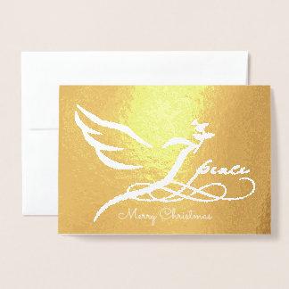 Gold Foil Peace Dove Photo Card