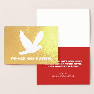 Gold Foil Peace on Earth Christmas Foil Card