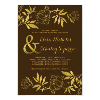 Gold foil peonies floral brown wedding card