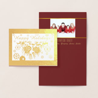 Gold Foil Personalised Photo Holiday Card