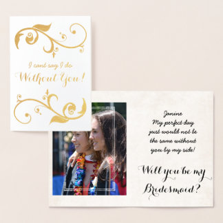 Gold Foil Personalized Bridesmaid Card