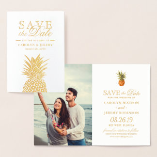 Gold Foil Pineapple Tropical Wedding Save the Date Foil Card