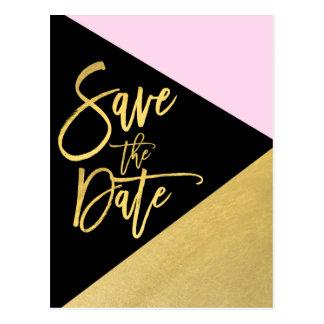 Gold Foil Pink Black Modern Script Save the Date Postcard