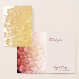 Gold Foil Pink Chrysanthemum Wedding Thank You #2 Foil Card