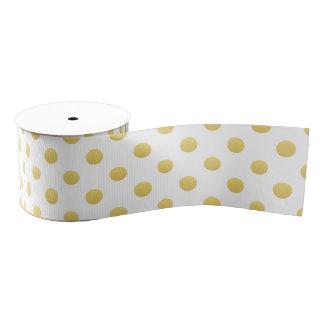 Gold Foil Polka Dots Designer Grosgrain Ribbon