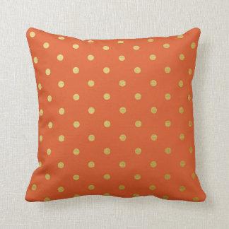 Gold Foil Polka Dots Modern Burnt Orange Metallic Throw Cushion