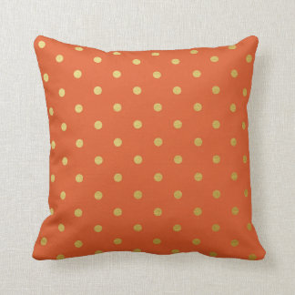 Gold Foil Polka Dots Modern Burnt Orange Metallic Throw Pillow