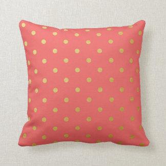 Gold Foil Polka Dots Modern Coral Pink Throw Pillows