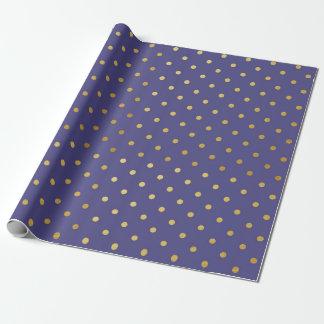 Gold Foil Polka Dots Modern Dark Purple Metallic Wrapping Paper