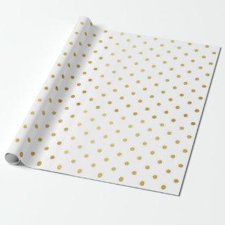 Gold Foil Polka Dots Modern Holiday White Metallic