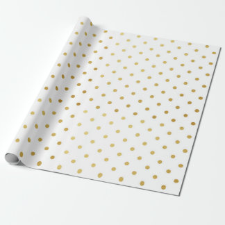Gold Foil Polka Dots Modern Holiday White Metallic Wrapping Paper