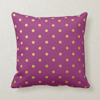 Gold Foil Polka Dots Modern Purple Metallic Cushions