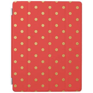 Gold Foil Polka Dots Modern Red Metallic iPad Cover