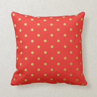 Gold Foil Polka Dots Modern Red Metallic Throw Cushion