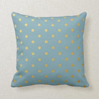 Gold Foil Polka Dots Modern Slate Blue Throw Pillow