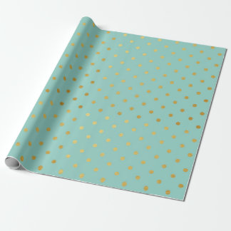 Gold Foil Polka Dots Modern Teal Mint Metallic