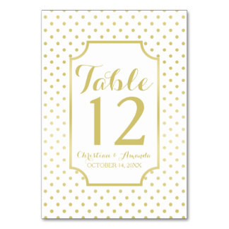 Gold Foil Polka-Dots Modern Wedding Table Number Table Card
