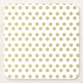 Gold Foil Polka Dots Modern White  Square Coasters Square Paper Coaster