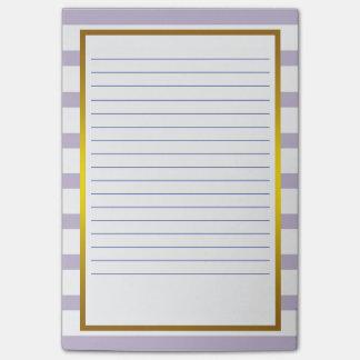 Gold Foil Purple Stripe white Classic Lines Post-it Notes