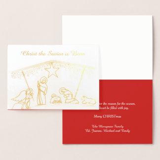 Gold Foil Religious Manger Christmas Foil Card