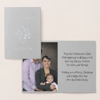 Gold Foil Retro Christmas Ornament Greeting Card