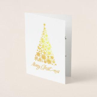Gold Foil Retro Christmas Tree Greeting Card