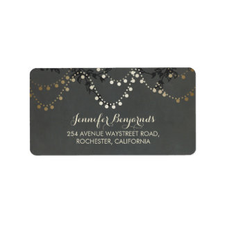 Gold Foil Rustic String Lights Wedding Address Label