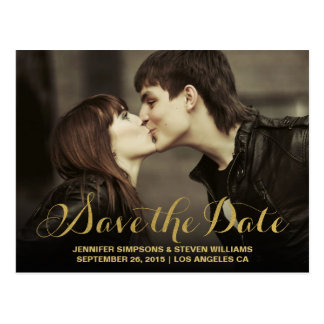 GOLD FOIL | SAVE THE DATE ANNOUNCEMENT POSTCARD