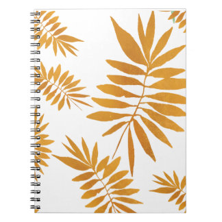 Gold foil scattered fern leaves spiral notebook