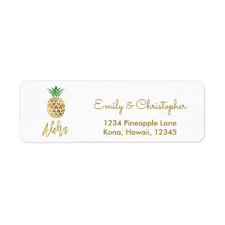 Gold Foil Script Wedding Aloha Pineapple Return Address Label