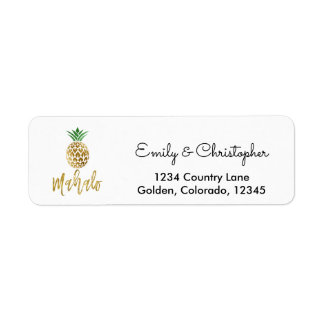 Gold Foil Script Wedding Mahalo Pineapple Return Address Label