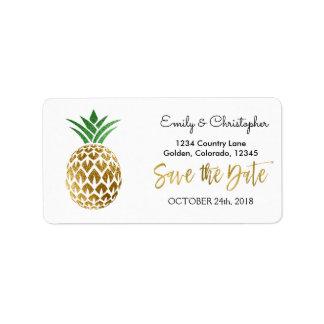 Gold Foil Script Wedding Save the Date Pineapple Address Label