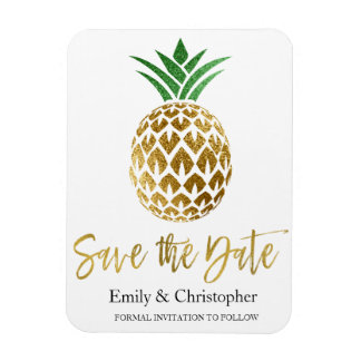 Gold Foil Script Wedding Save the Date Pineapple Magnet