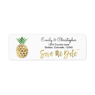Gold Foil Script Wedding Save the Date Pineapple Return Address Label