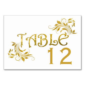 Gold foil scroll leaf floral wedding table number table card