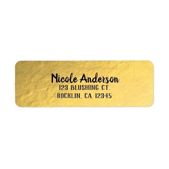 Gold Foil Shine Modern Elegant Chic Wedding Return Address Label